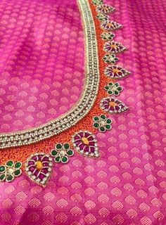 Best Blouse Designs, Simple Blouse Designs, Saree Blouse Designs, Blouse Patterns, Aari Embroidery, Embroidery Works, Embroidery Designs, Simple Embroidery, Blouse Desings