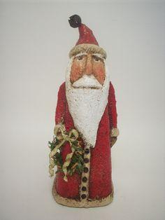Paper Mache Folk Art Santa.