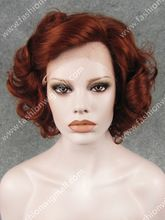 W24 Hot Sale #350 Burgundy Red Heat Friendly Fiber Lace Front Short Curly…