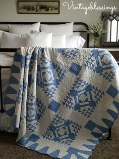 c1920 Antique blue and white quilt makes this bedroom a stand out!