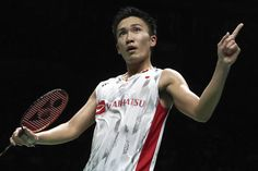 Kento Momota reacts after betaing China's Shi Yuqi in the men's singles final at the world badminton championships on Sunday in Nanjing, China. World Championship, Oct 2017, Nanjing, Japanese Men, Sports News, The Man, Legends, Sunday