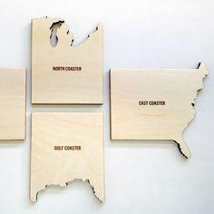 Reed Wilson Design: Set of 4 Wood Coasters of the USA Regions, East Coast, West Coast, North Coast, Gulf Coast. Be thankful for our beaches! #americanmadeebaysweeps