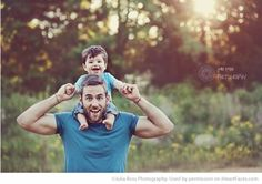 Dad with Little Boy on His Shoulders | Dad & Me Photos That Will Leave You Smiling featured on I Heart Faces Photography Blog
