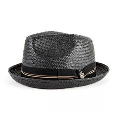 An ultra hip toyo straw fedora, designed with a center dent pinch front crown and stingy brim.