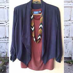 Navy Crop Jacket Faux suedesoft and chicmaterial is thin and light enough to be wear on a night out in the summer! Anthropologie Jackets & Coats