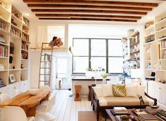 Tiny apartment. I think the floor layout is adaptable to a tiny home. The biggest draw for me is the walls are white painted shelves. very useful and so etching you hardly ever see in a tiny home. If a window is desired, the bookshelves could be built around it.