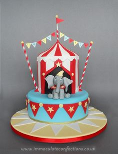 Circus Birthday Cakes Dumbo Circus Christening Cake Cakes Natalie Porter To DoYou can find Circus cakes and more on our website. Novelty Birthday Cakes, Themed Birthday Cakes, Happy Birthday Cakes, Themed Cakes, 20th Birthday, Special Birthday, Bolo Do Dumbo, Dumbo Cake, Circus Theme Cakes