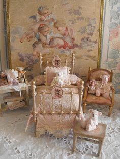Looks like dolls house furniture setting in French Provincial.