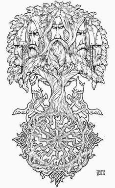 Tattoo Tree Of Life Celtic Symbols 50 Ideas - Inspirationen Skulptur - Tatoo Ideen Slavic Tattoo, Norse Tattoo, Celtic Tattoos, Viking Tattoos, Yggdrasil Tattoo, Norse Mythology Tattoo, Kraken Tattoo, Celtic Symbols, Celtic Art