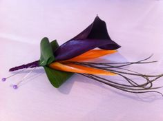 Calla and bird of paradise button hole - Julie Cambridge Floral design