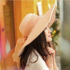Fashion bow floppy straw hat for women summer UV wide brim sun hats