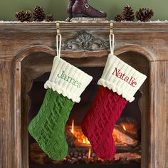 Personalized Christmas Stockings - Classic Cable Knit Stockings ...