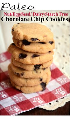 Chocolate Chip Cookie (AIP, egg free, nut free, grain free)  Homemade chocolate chips