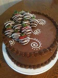 chocolate cake with chocolate covered strawberries :) yum!