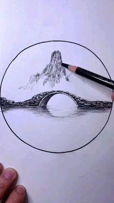 Art Drawings Beautiful, Art Drawings Sketches Simple, Pencil Art Drawings, Amazing Sketches, Drawing Scenery, 3d Art Drawing, Drawing Ideas, Diy Canvas Art, Pen Art