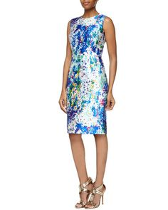 T9WXM Kalinka Sleeveless Floral-Print Sheath Dress