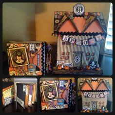 Halloween mini scrapbook with matching paper mâché house covered in Halloween scrapbook paper, ribbon, and burlap. Each year display the mini album at halloween and add a picture of your little ones each year to the album.