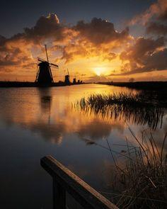 Kinderdijk Sunrise ~ windmill waterscape, Holland.