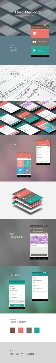 Medicine ordering service app design with material design patterns. Keeping it very simple and lean.