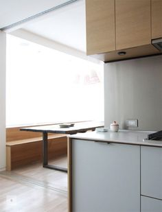 light grey laminate front, thin counter