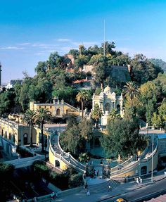 Santa Lucia park and monument in Santiago, Chile. Places To See, Places To Travel, Places Around The World, Around The Worlds, Cerro Santa Lucia, Magic Places, South America Travel, Tours, Peru