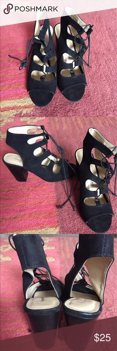 Black lace up thick heels 3 1/2 inch heels lace up open toe shoes. Cute for going out or any occasion. Chinese Laundry Shoes Heels