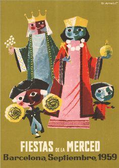 #Cartells #Franquisme #Festes_de_la_Mercè  #Barcelona Las Mercedes, Balearic Islands, Travel Posters, Vintage Posters, Illustrations Posters, Joker, Graphic Design, Vintage Travel, Movie Posters