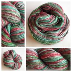 SALE $30.50  ~  WAS $33.50Merino and bamboo! Soft, silky, shiny and fun! Because the bamboo is a plant fiber, and the merino is a protein fiber they don't take dye in the same way. The merino soaks it up and the bamboo doesn't - leaving shiny white streaks through the entire skein. I dyed this roving before spinning it, so I can reproduce something similar. If you'd like more just send me a message. Colors: emerald green, brown, ruby red and all shade in between Weight: ge...