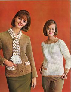 Tan & Cream • 1960s Pullover Cardigan Sweater Patterns • 60s Vintage Ribbed Pockets Knitting Jumper Pattern • Retro Knit PDF by TheStarShop on Etsy