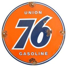 Check out this item at One Kings Lane! Porcelain & Metal Union 76 Gasoline Sign