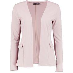 Boohoo Martha Collarless Blazer | Boohoo ($26) ❤ liked on Polyvore featuring outerwear, jackets, blazers, pink blazer, tailored blazer, pastel jacket, polka dot blazer and pastel pink blazer