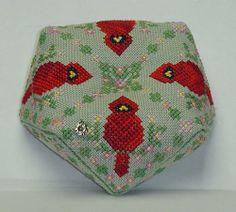 Handblessings cross stitch cardinal biscornu