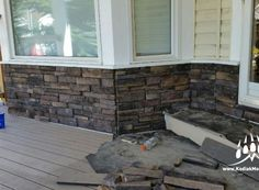 Stacked Ledge Stone (Color: Almond Buff) manufactured stone veneer from Kodiak Mountain Stone Manufactured Stone Veneer, Stone Gallery, Panel Systems, Almond, House Ideas, Mountain, Patio, Outdoor Decor, Color