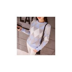 Argyle Sweater ($27) ❤ liked on Polyvore featuring tops, sweaters, sweatshirt, women, argyle sweater and cotton sweaters