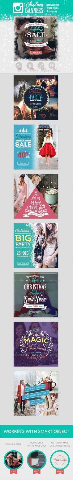 Instagram Christmas Banners  — PSD Template #inspiration #marketing #banners • Download ➝ https://graphicriver.net/item/instagram-christmas-banners/18623123?ref=pxcr