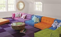 A Playful Game Room - Life + Style | Wayfair This sofa would look great in a basement rec room