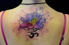 amazing lotus watercolor tattoo on upper back - quote, lotus seedpod, flower