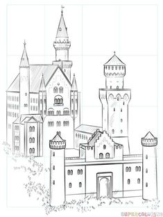 Drawing Tutorials For Kids, Pencil Drawing Tutorials, Drawing For Beginners, Drawing For Kids, Pencil Drawings, Castle Sketch, Castle Drawing, House Drawing, Castle Painting