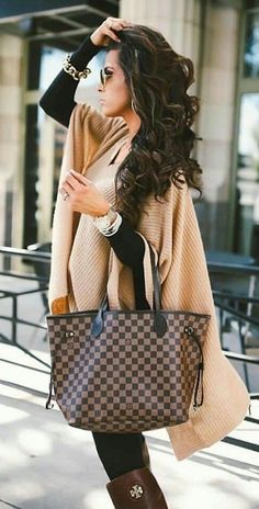 #fall #outfits women's beige poncho and Damier Ebene Louis Vuitton tote bag