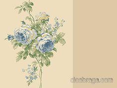 Ciça Braga - Papel de parede Papel de Parede Vinílico Casabella York (Americano) - Listra Floral Rosas (Tons de Bege/ Tons de Azul/ Tons de Verde) - COLA INCLUSA