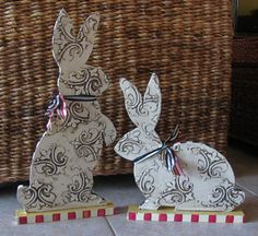 Pair of Hand Painted Bunny Rabbit Wooden Sculptures for your Easter Table or Year Round Decor, Whimsical, Reversible, Two in One