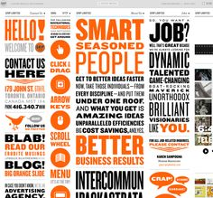 Grip Limited - Toronto. Weird striped vertical navigation. Broad scope, mainly marketing (ads etc) - but the design and interaction of the site is so weird it seems worth noting. Whimsical overtones throughout the site (between client work, they list vacation destinations and coffee consumed). Blog, tweets all present - almost too much to take in. Fun, but might be hard for a client to get a real picture of what they do.