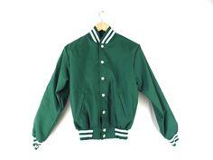 90s Green Sporty Jacket - Vintage Athletic Baseball Nylon USA Made Light Jacket Plain Green White Stripes Youth Large Adult Small S M Medium by Iterations on Etsy