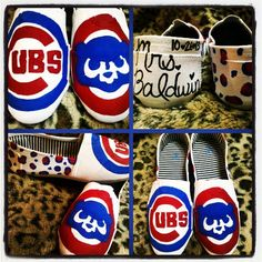 Handpainted custom slip on shoes Chicago Cubs by CedesSparkles, $55.00