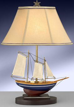 Maritime Table Lamp with Linen Sails 10260BESB