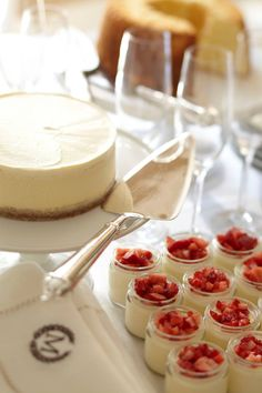 Miniature Strawberry Cheesecake's found recipe on Pottery Barn facebook