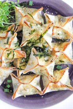 Baked vegetable-filled wontons