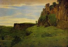Civita Castellana. Fabriques au sommet des rochers, also called La porta San Salvatore (Civita Castellana: Buildings High in the Rocks), c. 1826-27, 25.4 x 35.5 cm (10 x 14 in.), Stamped lower right: Vente Corot, Private Collection.