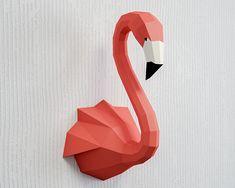 Papercraft Flamingo Paper Craft sculpture animal head trophy low poly sculpture template pepakura pdf kit origami bird home decor Origami Flamingo, Origami 3d, Flamingo Bird, 3d Paper Crafts, Diy Paper, Paper Crafting, Free Paper, Cardboard Paper, Low Poly
