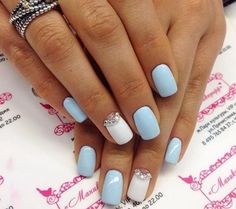 Soft blue and white accent with pearls or gems